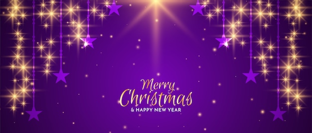 Frohe weihnachten festival sternschnuppen banner design vektor Kostenlosen Vektoren