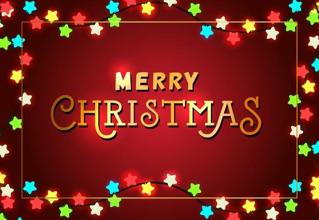 Frohe weihnachten festliche plakatgestaltung. weihnachtslichter Kostenlosen Vektoren