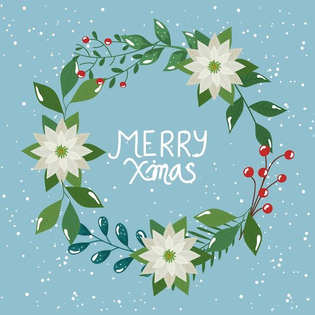 Frohe weihnachten flyer mit krone aus blättern und blumen Kostenlosen Vektoren