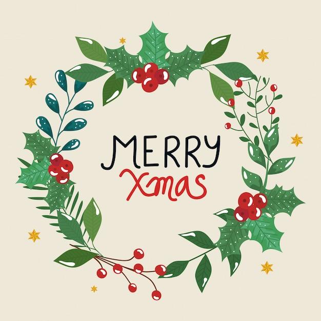 Frohe weihnachten flyer mit krone blätter dekorativ Kostenlosen Vektoren
