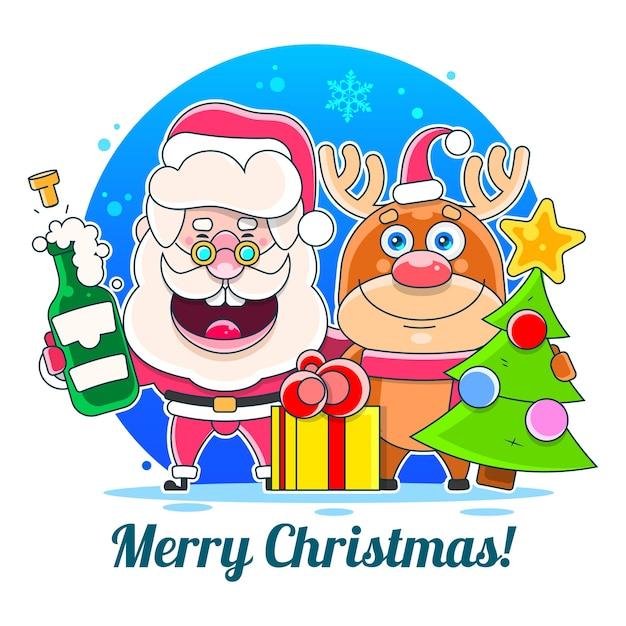 Frohe weihnachten frohe weihnachten begleiter. illustration geeignet für grußkarten-, plakat- oder t-shirt-druck. Premium Vektoren