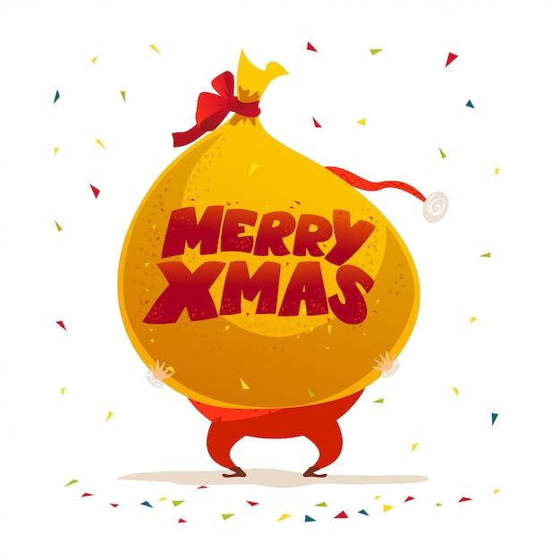 Frohe weihnachten, frohes neues jahr glückwunsch. . cartoon-stil. gut für weihnachten postkarte, karte ,, werbung, flayer ,. Premium Vektoren
