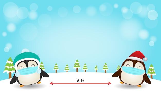 Frohe weihnachten für ein neues normales lifestyle-konzept und soziale distanzierung Premium Vektoren