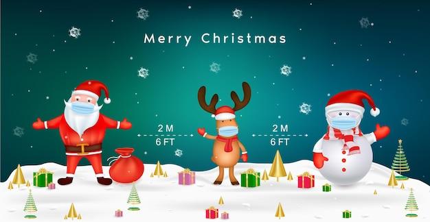 Frohe weihnachten für neues normales lebensstilkonzept weihnachtsmann-schneemann und rentier mit chirurgischer maske schützen das soziale distanzierungskonzept des coronavirus aufgrund von covid Premium Vektoren