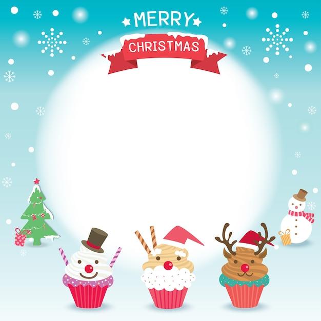 Frohe Weihnachten gefeiert mit Cupcakes   Download der Premium Vektor