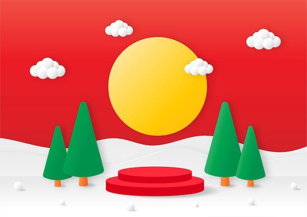 Frohe weihnachten geometrie form podium mit weihnachtsbaum papier geschnittene karte roten hintergrund produkt stand präsentation mit minimalem stil Premium Vektoren