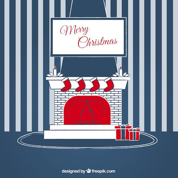 frohe weihnachten gestreiften wand hintergrund mit kamin download der kostenlosen vektor. Black Bedroom Furniture Sets. Home Design Ideas