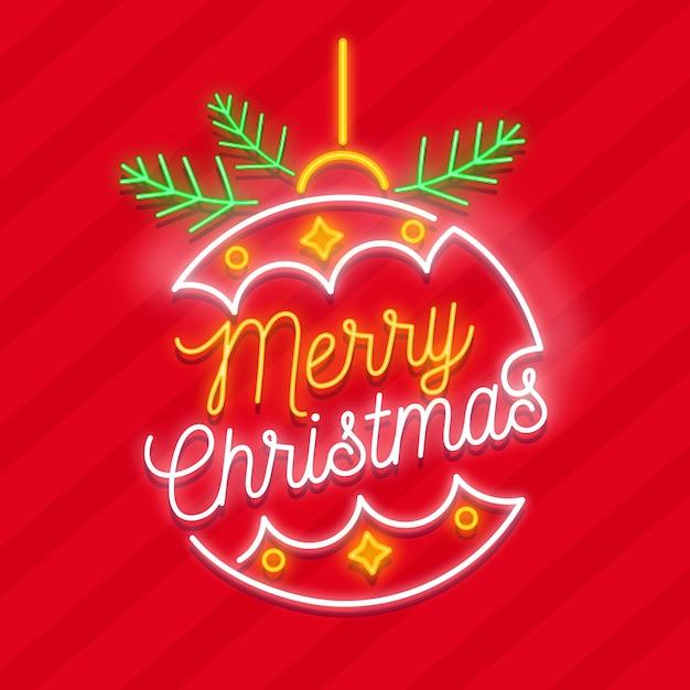 Frohe weihnachten globus in neon Kostenlosen Vektoren