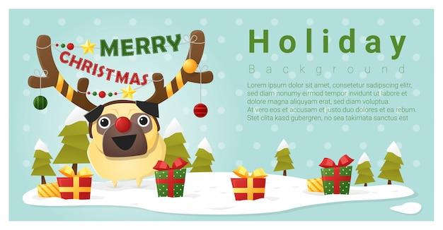 Frohe weihnachten gruß hintergrund mit hund Premium Vektoren