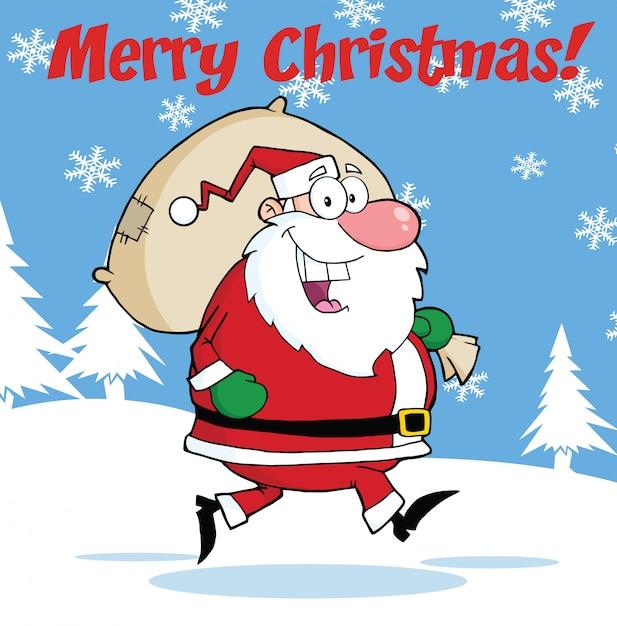 Frohe weihnachten gruß mit santa claus mit tasche laufen Premium Vektoren