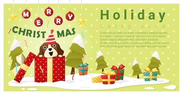 Frohe weihnachten grußhintergrund mit hund innerhalb der geschenkbox Premium Vektoren
