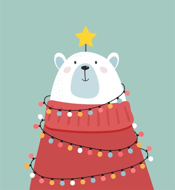 Frohe weihnachten grußkarte, banner. weißer eisbär, der wie ein weihnachtsbaum, vektorkarikaturillustration schaut Premium Vektoren
