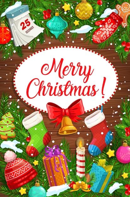 Frohe weihnachten grußkarte der weihnachtsbaumgirlande mit geschenken Premium Vektoren