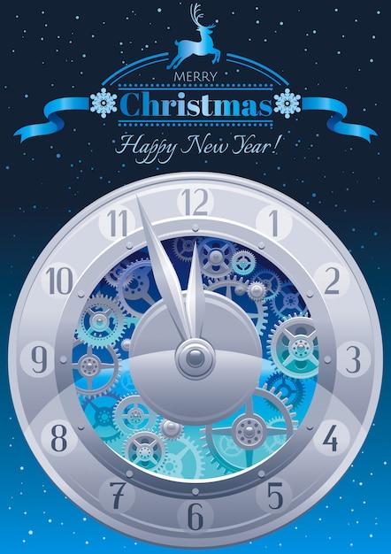 Frohe weihnachten grußkarte. feiertagsfahne mit uhren auf hintergrund des nächtlichen himmels Premium Vektoren