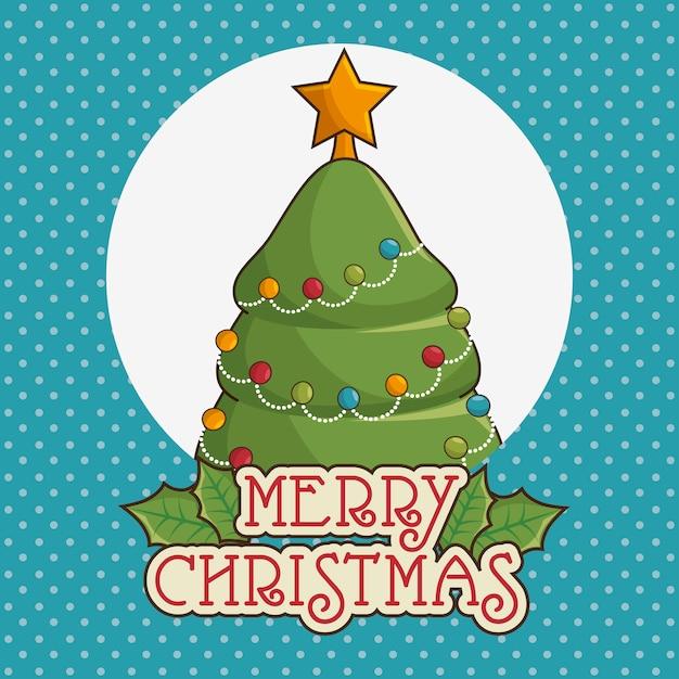 Frohe weihnachten grußkarte mit baum Kostenlosen Vektoren