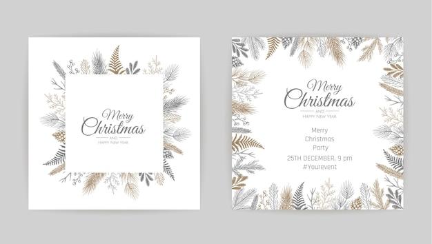 Frohe weihnachten grußkarte mit blumendekoration Premium Vektoren