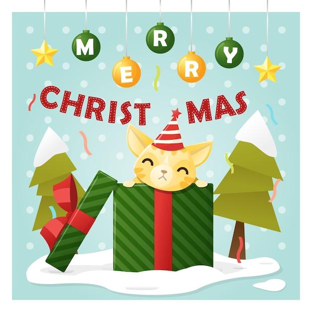 Frohe Weihnachten Katze.Frohe Weihnachten Grußkarte Mit Katze In Geschenkbox Download Der
