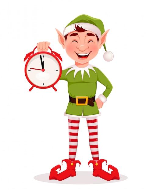 Frohe weihnachten grußkarte mit lustigen elf Premium Vektoren
