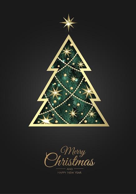 Frohe weihnachten grußkarte mit neujahrsbaum. Premium Vektoren