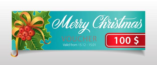 Frohe weihnachten, gutscheinbeschriftung mit mistel Kostenlosen Vektoren