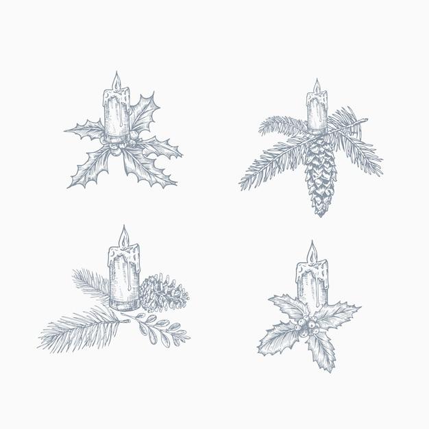 Frohe weihnachten hand gezeichnete urlaub illustrationen set. Kostenlosen Vektoren