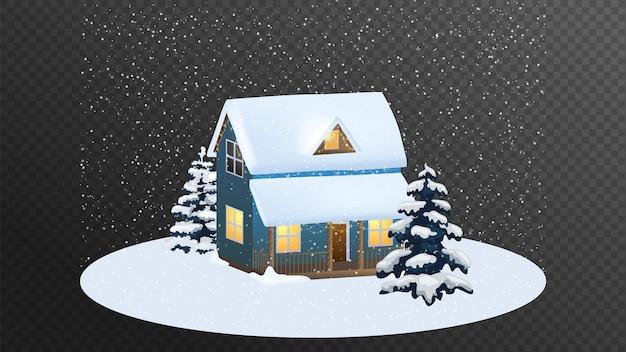 Frohe weihnachten haus. karikatur. Premium Vektoren