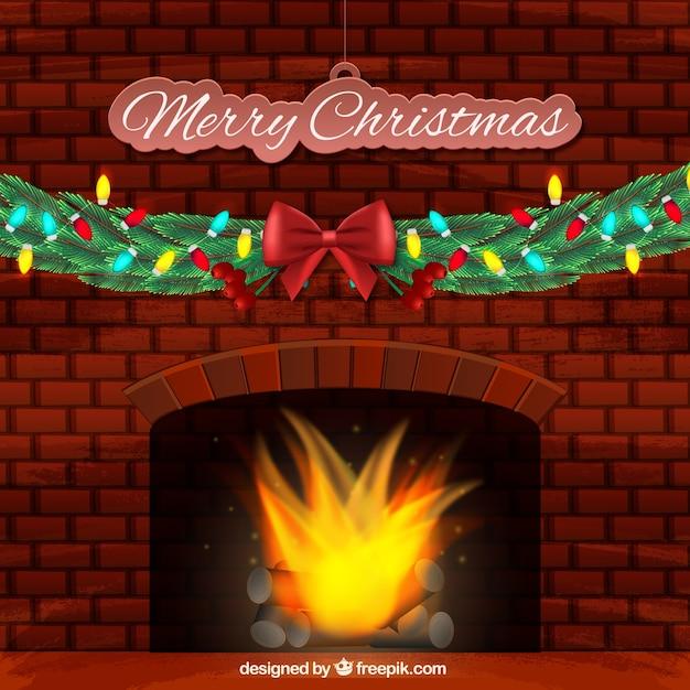 Frohe weihnachten hintergrund mit brennenden kamin for Weihnachten hintergrund kostenlos
