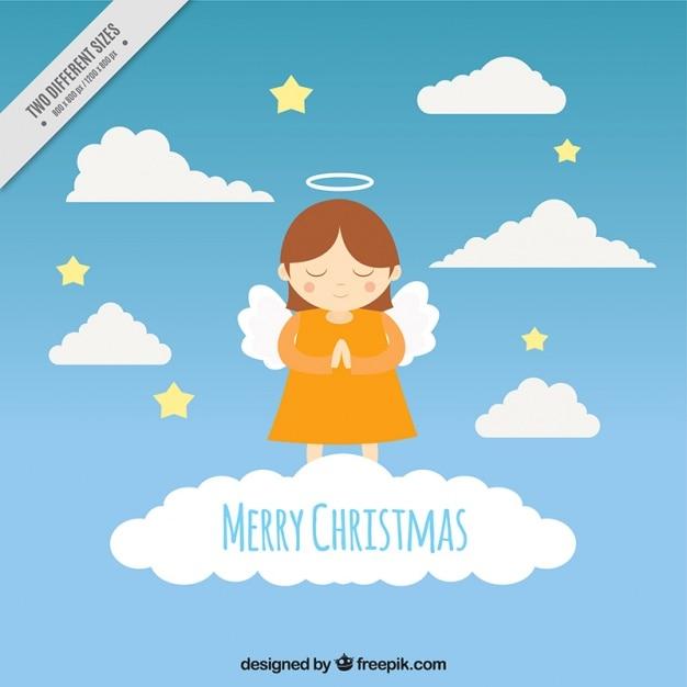 frohe weihnachten hintergrund mit engel im himmel. Black Bedroom Furniture Sets. Home Design Ideas