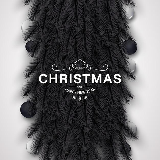 Frohe weihnachten hintergrund mit goldenen und schwarzen dekoration Premium Vektoren