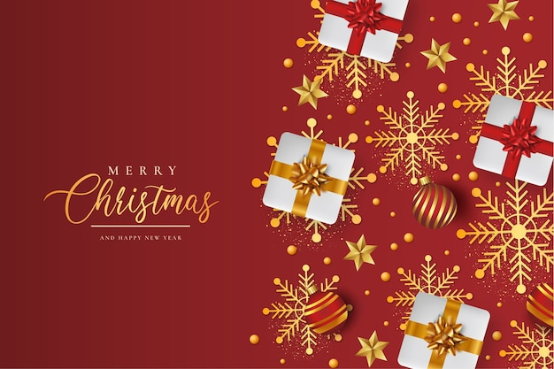 Frohe weihnachten hintergrund mit realistischem weihnachtsmuster Kostenlosen Vektoren