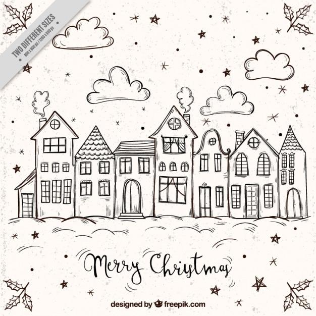 Frohe Weihnachten Hintergrund Mit Skizzen Von Hausern