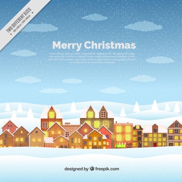frohe weihnachten hintergrund mit stadt im flachen design. Black Bedroom Furniture Sets. Home Design Ideas