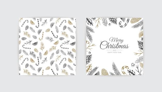 Frohe weihnachten hintergrund mit weihnachten element. Premium Vektoren