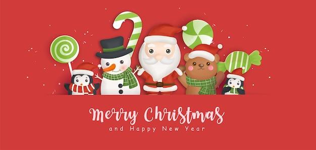 Frohe weihnachten hintergrund mit weihnachtsmann und freunden. Premium Vektoren