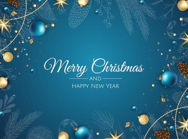 Frohe weihnachten hintergrund mit weihnachtsschmuck Premium Vektoren