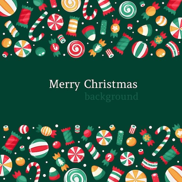 Frohe weihnachten hintergrund. weihnachtssüßigkeiten- und bonbonsammlung. Premium Vektoren