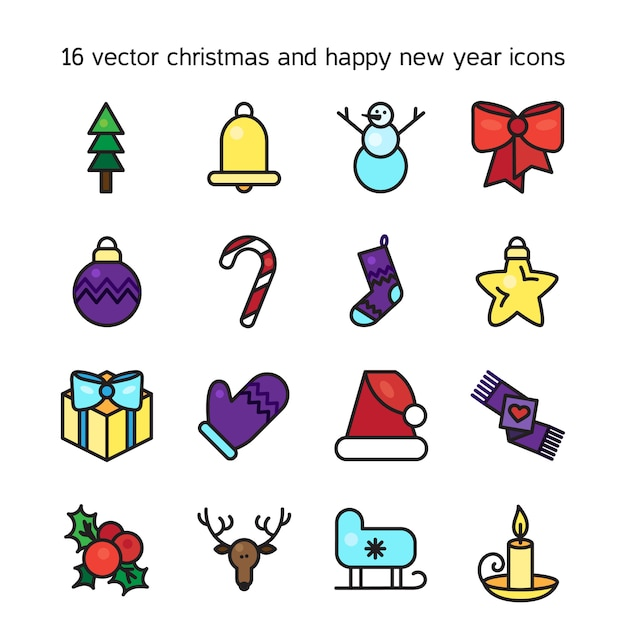 Frohe weihnachten icons set. frohes neues jahr symbole. winterurlaub zeichen. vektor Premium Vektoren