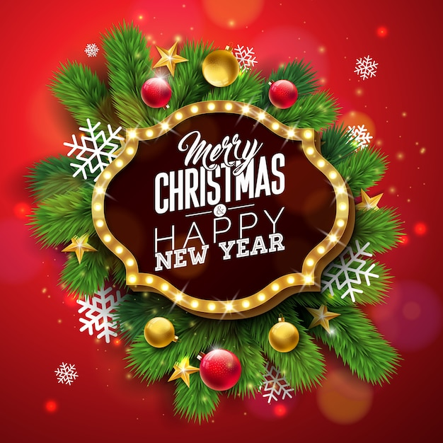Frohe weihnachten-illustration mit hellem zeichenbrett Premium Vektoren