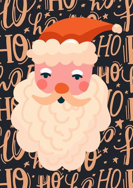 Frohe weihnachten illustration mit weihnachtsmann und schriftzug. Premium Vektoren