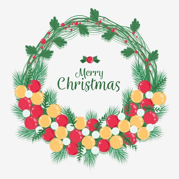 Frohe weihnachten im kranz Kostenlosen Vektoren