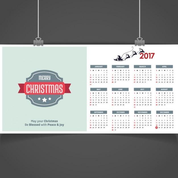 frohe weihnachten kalender 2017 download der kostenlosen vektor. Black Bedroom Furniture Sets. Home Design Ideas