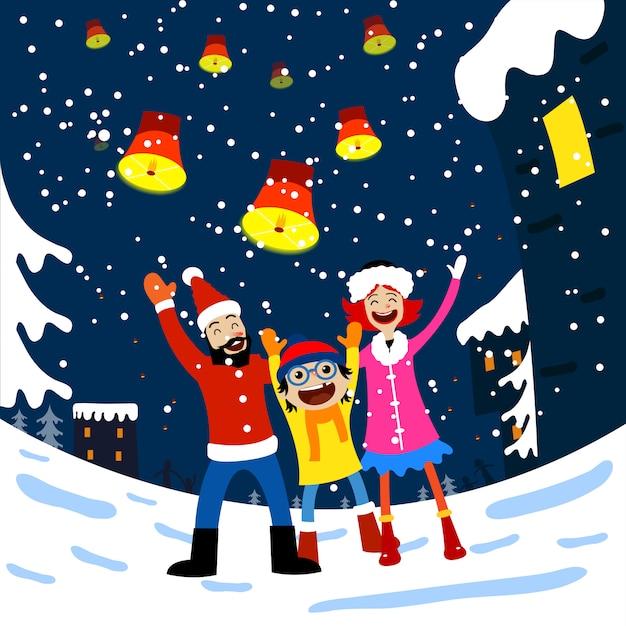Frohe Weihnachten Familie.Frohe Weihnachten Karte Mit Der Familie Download Der Premium Vektor