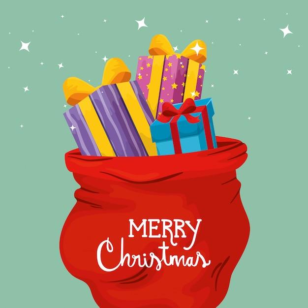 Frohe weihnachten-karte mit geschenkboxen und taschen präsentiert Kostenlosen Vektoren