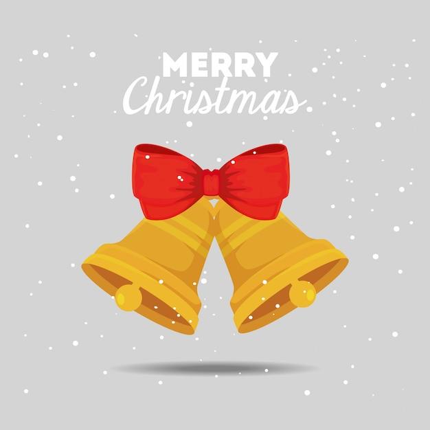 Frohe weihnachten-karte mit glocken und schleife Kostenlosen Vektoren