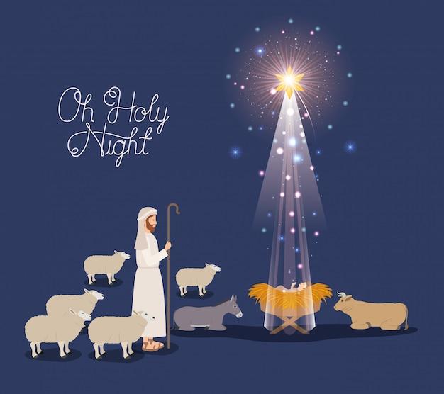 Frohe Weihnachten Jesus.Frohe Weihnachten Karte Mit Jesus Baby Und Sheeper