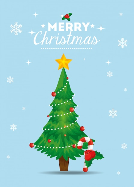 Frohe weihnachten-karte mit kiefer Kostenlosen Vektoren