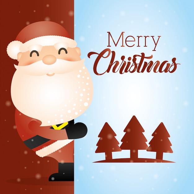 Frohe weihnachten-karte mit niedlichen weihnachtsmann Kostenlosen Vektoren