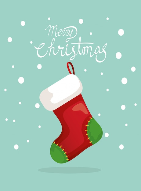 Frohe weihnachten-karte mit socken hängen Kostenlosen Vektoren