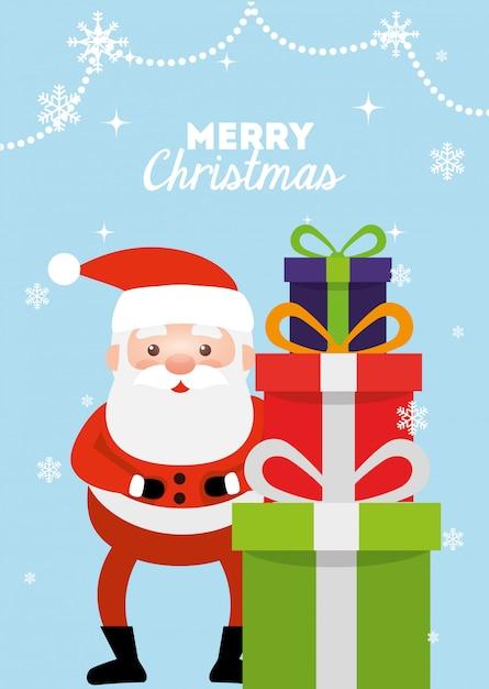 Frohe weihnachten-karte mit weihnachtsmann und geschenkboxen Kostenlosen Vektoren