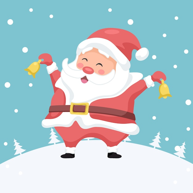 Frohe weihnachten-karte von santa claus mit weihnachtsglocken Premium Vektoren